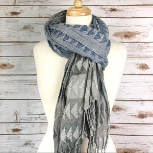 Blue & Grey Textured Long Scarf